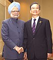 The Prime Minister, Dr. Manmohan Singh shaking hands with the Chinese Premier, Mr. Wen Jiabao, on the sidelines of 7th India-ASEAN Summit, in Thailand, on October 24, 2009 (1).jpg