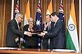 The Prime Minister, Shri Narendra Modi and the Prime Minister of Australia, Mr. Tony Abbott witnessing the signing of agreements, at Parliament House, in Canberra, Australia on November 18, 2014 (1).jpg
