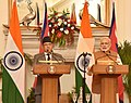 The Prime Minister, Shri Narendra Modi delivering his statement to media, in the joint media briefing with the Prime Minister of Nepal, Mr. Pushpa Kamal Dahal, at Hyderabad House, in New Delhi on September 16, 2016.jpg