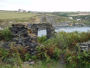 Abereiddy - Abandoned slate quarryman's cottage in The Street