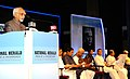 The Vice President, Shri M. Hamid Ansari addressing the gathering after releasing the commemorative edition of National Herald, in Bengaluru, Karnataka.jpg