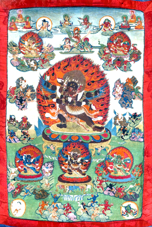 Guhyagarbha tantra - The Wrathful Deities of the Guhyagarbha Tantra. Tibetan thangka from 18th century. Middle figure is Mahottara Heruka, upper left figure is Ratna Heruka, upper right is Padma Heruka, lower center is Buddha Heruka, lower right is Karma Heruka, and lower left is Vajra Heruka. All of them have a consort. Surrounding these figures are the 58 wrathful deities.