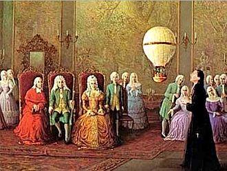 Portuguese Air Force - Bartolomeu de Gusmão presenting his invention to the court of John V of Portugal.