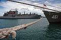 The dry cargo ship USNS Washington Chambers (T-AKE 11), left, arrives in support of Cooperation Afloat Readiness and Training (CARAT) 2013 in Chuk Samet, Thailand, June 3, 2013 130603-N-AX577-004.jpg