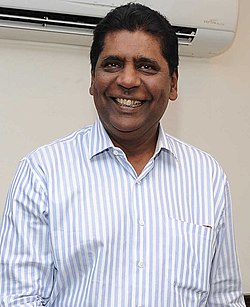 The former Tennis player, Shri Vijay Amritraj calling on the Minister of State for Youth Affairs and Sports (IC), Water Resources, River Development and Ganga Rejuvenation, Shri Vijay Goel, in New Delhi on April 11, 2017 (cropped).jpg