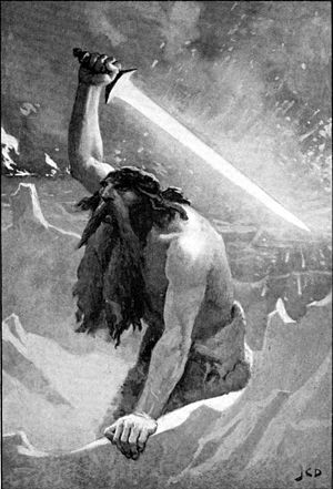 Surtr - The Devil Giant with the Flaming Sword (1909) by John Charles Dollman