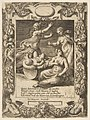 The infant Hercules killing the snakes, set within an elaborate frame, from the 'Loves, Rages and Jealousies of Juno' MET DP812655.jpg
