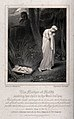 The mother of Moses sadly abandons her child by the river. E Wellcome V0034265.jpg