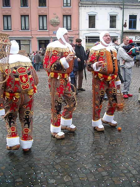 Three Gilles, hatless, Carnival of Morlanwelz, Belgium
