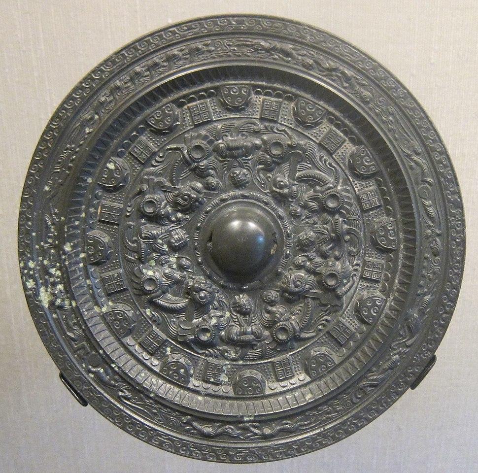 Three Kingdoms period bronze mirror with Taoist deities and animals design, HAA