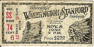 Stanford Cardinal - 1930 football ticket stub depicting the Stanford Indian mascot