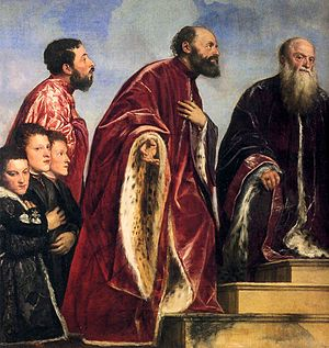 "Lake pigment - Titian used glazes of red lake to create the vivid crimson of the robes in ""The Vendramin Family Venerating a Relic of the True Cross"", completed 1550-60 (detail)."