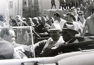 1963 Skopje earthquake - Josip Tito and Nikita Khrushchev in Skopje after the earthquake.