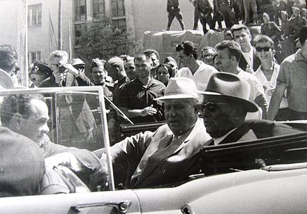 Tito and Nikita Khrushchev in Skopje after the 1963 earthquake Tito i Hrushchov.jpg