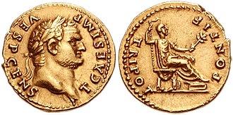 Laureate - Image: Titus Vespasianus aureus