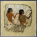 Tomb painting depicting two priests, one holding a papyrus roll and the other a vase for libations (... - Google Art Project.jpg