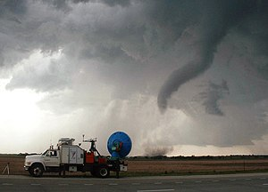 Tornadoes in the United States - A Doppler On Wheels unit observing a tornado near Attica, Kansas.
