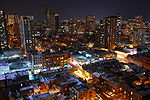 Toronto at night looking south-east from Bay Street.JPG
