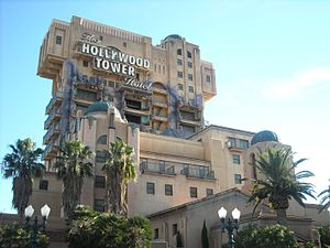 Hollywood Tower - The Twilight Zone Tower of Terror at Disney California Adventure and at Walt Disney Studios Park.
