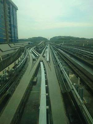 Junction (rail) - Junction in track of Singapore LRT