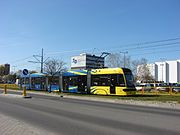 Trams in Toruń. Pesa Swing 122 NbT. Apr. 2015.jpg