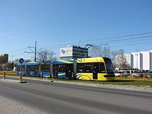 Trams in Toruń - Pesa Swing 122 NbT. Apr. 2015