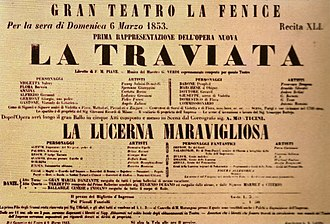 La traviata - Poster for the world premiere of La traviata