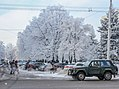 Trees covered with snow frost on the background of blue sky (35609148106).jpg