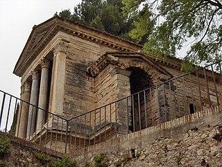Temple of Clitumnus building in Campello sul Clitunno, Italy