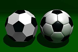 truncated icosahedron with black pentagonal faces and white hexagonal faces, beside a similar-looking 1970s soccer ball