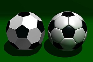 The truncated icosahedron (left) compared to a...