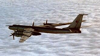 Tupolev Tu-142 - A Soviet Tu-142M flying above the clouds (1986)