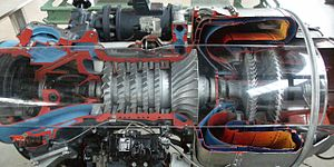 Centrifugal compressor - Cutaway showing an axi-centrifugal compressor gas turbine