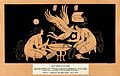 Two women crouching over a wash-basin; a winged human hovers Wellcome V0019995.jpg
