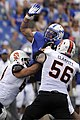 U.S. Air Force Academy sophomore Nick Fitzgerald reaches to block a pass as the Air Force Falcons defeated the Idaho State Bengals 49-21 at Falcon Stadium in Colorado Springs, Colo., Sept 120901-F-ZJ145-689.jpg
