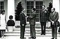 U.S. Air Force Chief of Staff Gen. John P. McConnell being presented with Air Force Distinguished Service Medal by U.S. President Richard M. Nixon.jpg