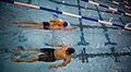 U.S. Navy competitors swim warm up laps before swimming competition begins at the inaugural Warrior Games in Colorado Springs, Colo., May 11, 2010 100511-N-PC102-001.jpg