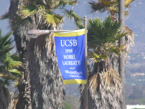 Walter Kohn - A banner on a lightpole at the University of California, Santa Barbara, commemorating Walter Kohn being awarded the Nobel Prize in Chemistry in 1998.