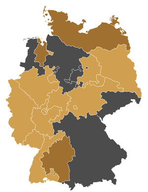 Union of Evangelical Churches - Member churches of the UEK are coloured in light brown, churches with the status of guests to the UEK are kept in a darker brown. The Evangelical Reformed Church is not depicted in the map.