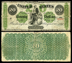 Greenback (1860s money) - Image: US $20 DN 1861 Fr.12