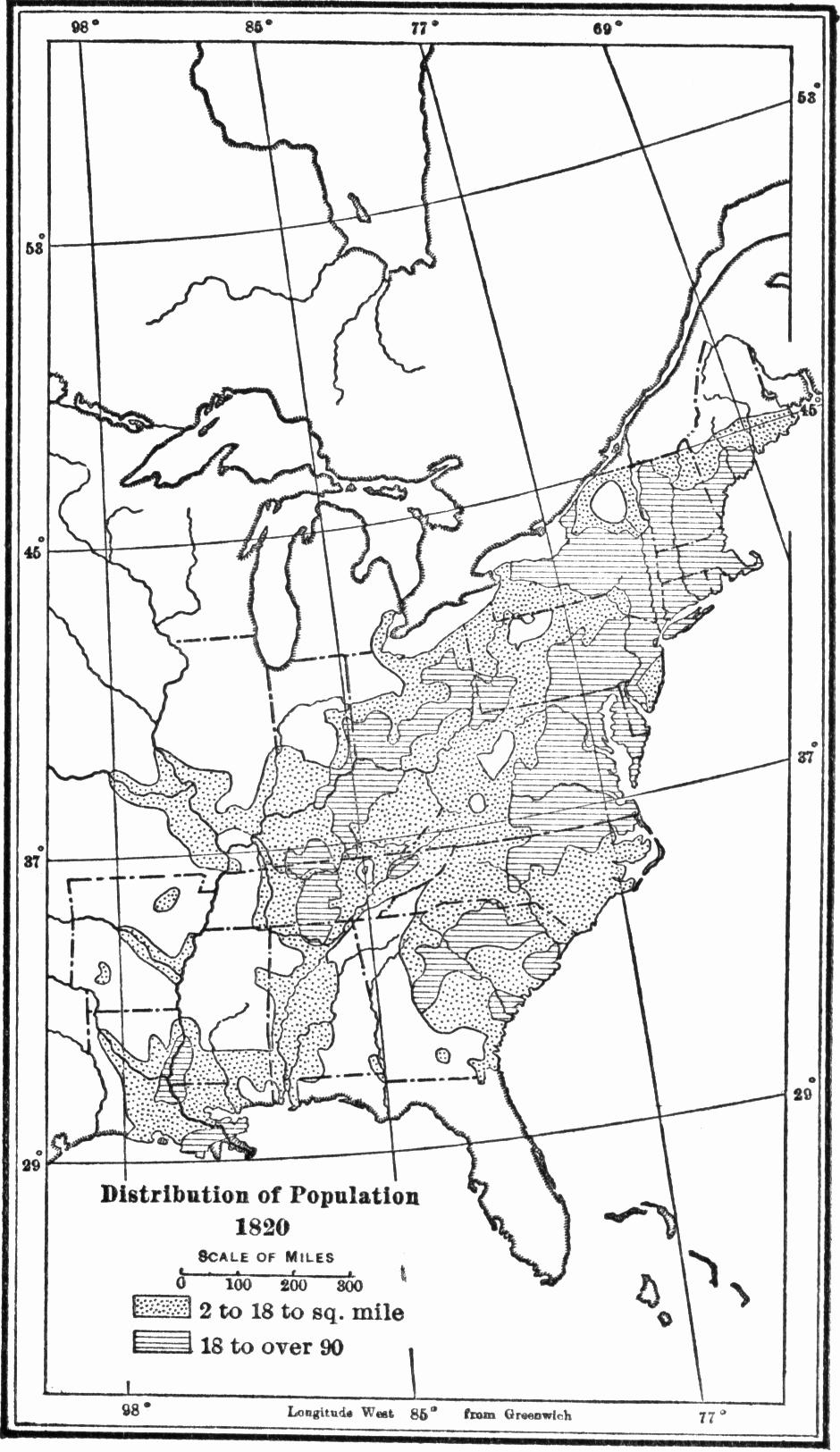 USA population distribution 1820