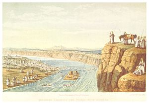 Tigris - Bedouin crossing the river Tigris with plunder (c.1860)