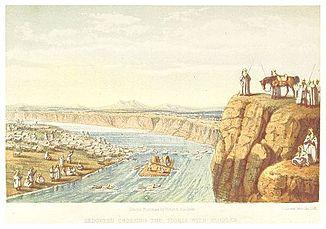 Beduínos cruzam o Tigre (por volta de 1860)