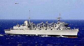 Sacramento-class fast combat support ship - Image: USS Camden AOE 2 050217 N 6074Y 108 crop
