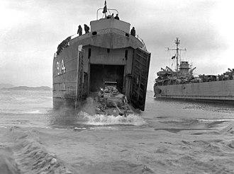Blockade of Wonsan - A US M46 Patton tank disembarks from a Landing Ship Tank, Wonsan, (2 November 1950)