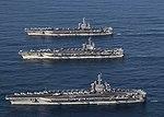 USS Nimitz (CVN-68), USS Theodore Roosevelt (CVN-71) and USS Ronald Reagan (CVN-76) underway in the Western Pacific on 12 November 2017 (171112-N-LB724-346).jpg