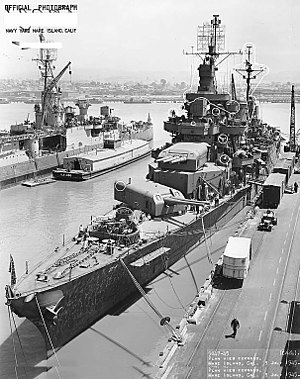 USS Pensacola (CA-24) at the Mare Island Naval Shipyard on 3 July 1945 (19-N-87792).jpg