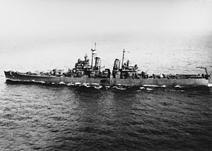 USS Saint Paul (CA-73) - Image: USS Saint Paul (CA 73) underway in Massachusetts Bay on 15 March 1945 (NH 94152)