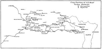 """14""""/50 caliber railway gun - Map showing firing locations and targets in France, 1918"""