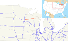 US 8 runs east–west from East central Minnesota to the Upper Peninsula Michigan and across Northern Wisconsin